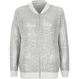 Silver sequin embellished knit bomber jacket