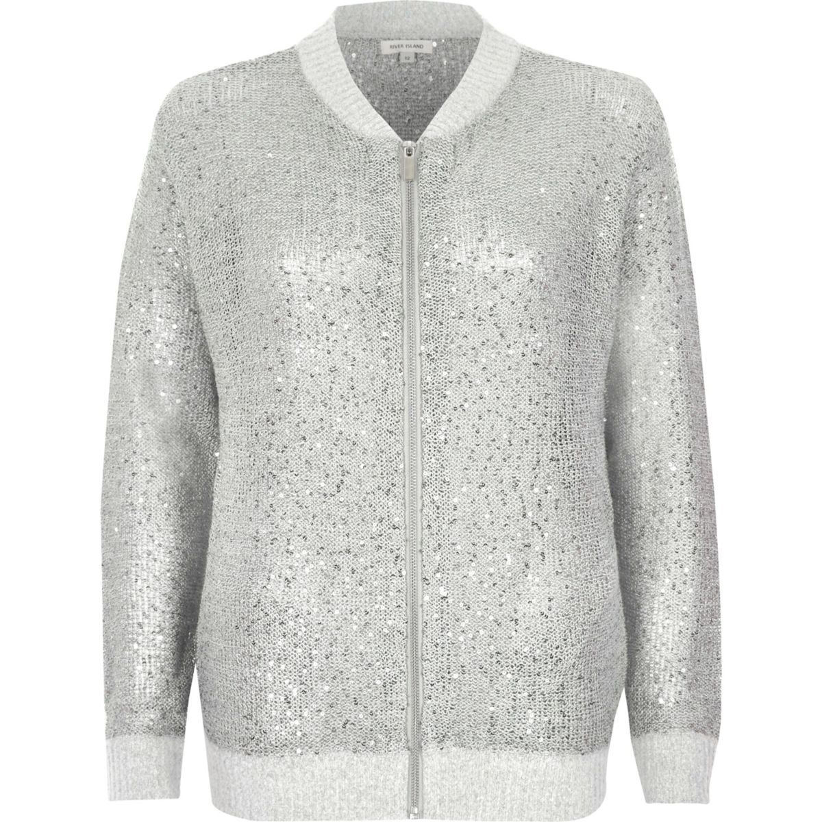 Silver sequin embellished knit bomber jacket - Knitwear - Sale - women