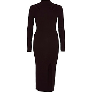 Dark purple cut out bodycon sweater dress