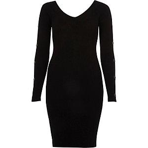 Schwarzes Bodycon-Kleid mit Metalldetails