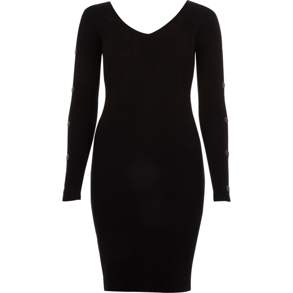 Black rib knit hardware sleeve bodycon dress