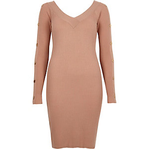 Light pink rib knit long sleeve bodycon dress