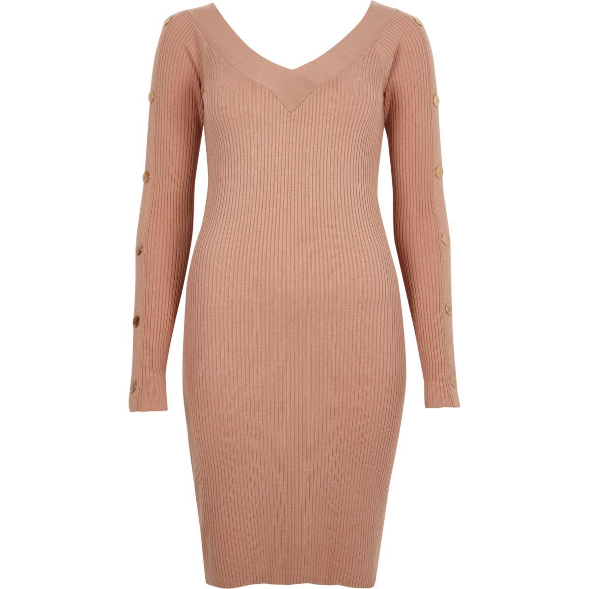 Light pink rib knit long sleeve bodycon dress