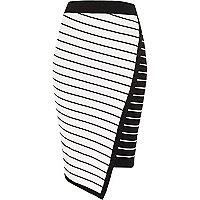 White asymmetric stripe midi pencil skirt