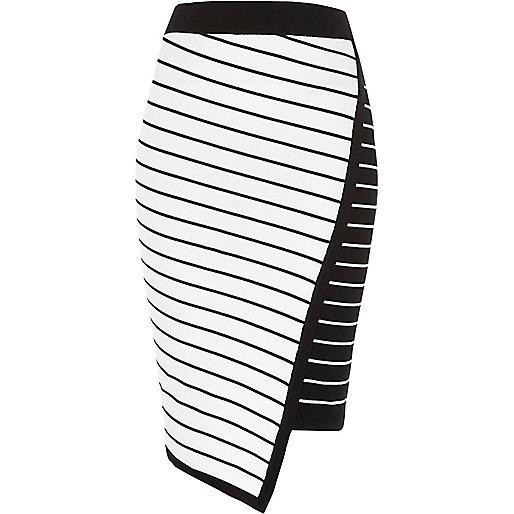 white asymmetric stripe midi pencil skirt midi skirts