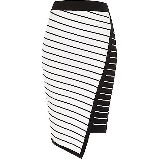 White asymmetric stripe midi pencil skirt