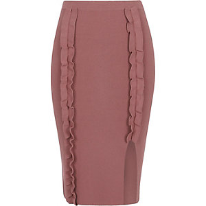Purple ruffle knit bodycon midi skirt