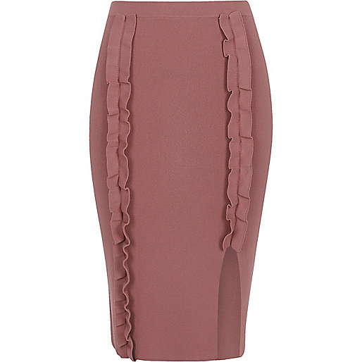 Dark pink ruffle knit bodycon midi skirt