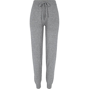 Grey stripe detail knitted joggers