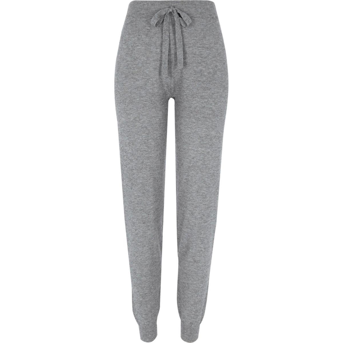 Pantalon de jogging en maille gris avec rayures