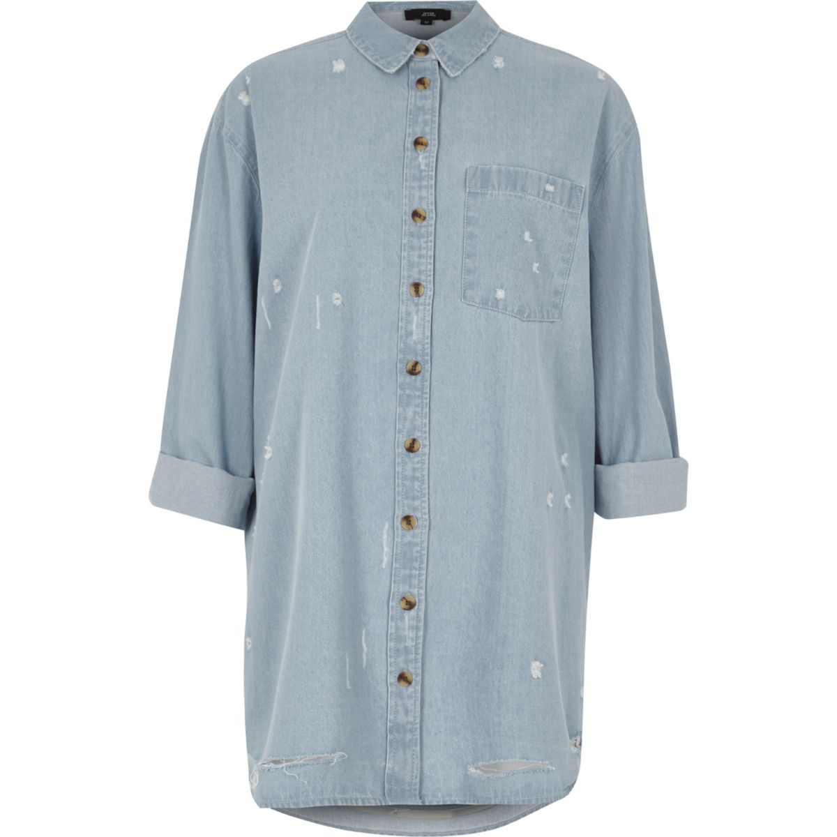 Light blue oversized distressed denim shirt