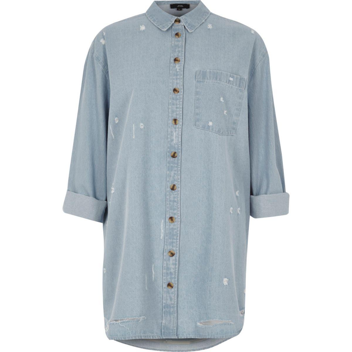 Light blue oversized distressed denim shirt