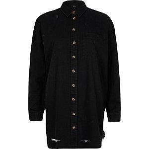 Black oversized ripped hem denim shirt