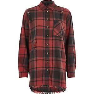 Red check oversized ripped hem shirt