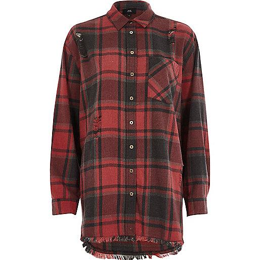 Red check oversized ripped hem shirt