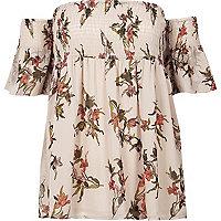 Cream floral shirred bardot smock top