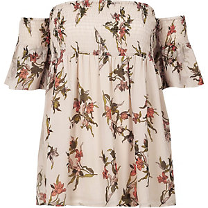 Cream floral shirred bardot smock top