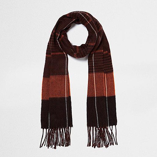 Rust orange check scarf