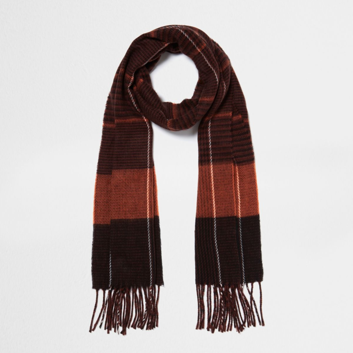 Rust orange check scarf
