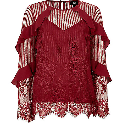 Dark red lace frill sleeve top
