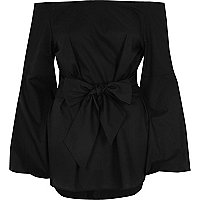 Black bow front bell sleeve bardot top