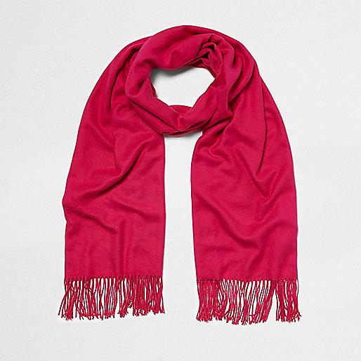 Bright pink blanket scarf
