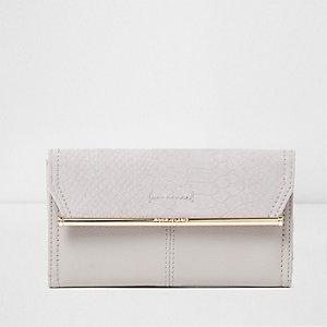 Light grey slim metal bar purse