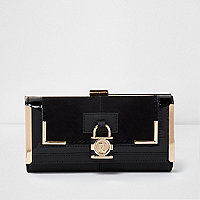 Black panel padlock detail clip top purse