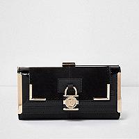 Zwarte portemonnee met paneel, druksluiting en hangslotje