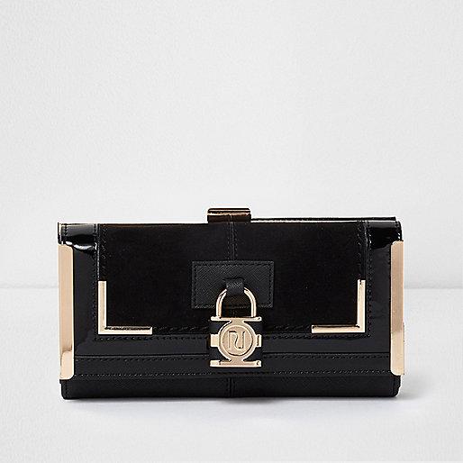 Black panel padlock detail clip top purse