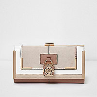 Beige panel padlock detail clip top purse