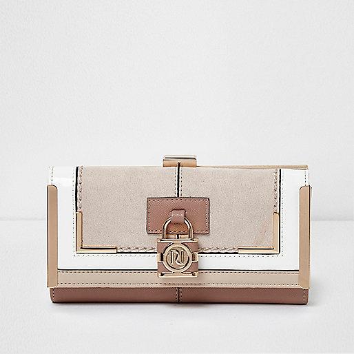 Beige panel padlock detail clip top purse