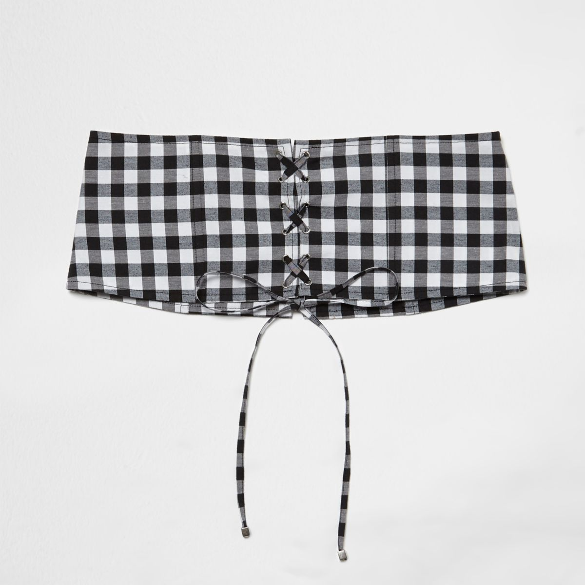 Black gingham print lace-up corset waist belt