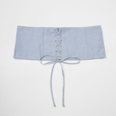 River Island Womens Blue stripe lace-up corset waist belt