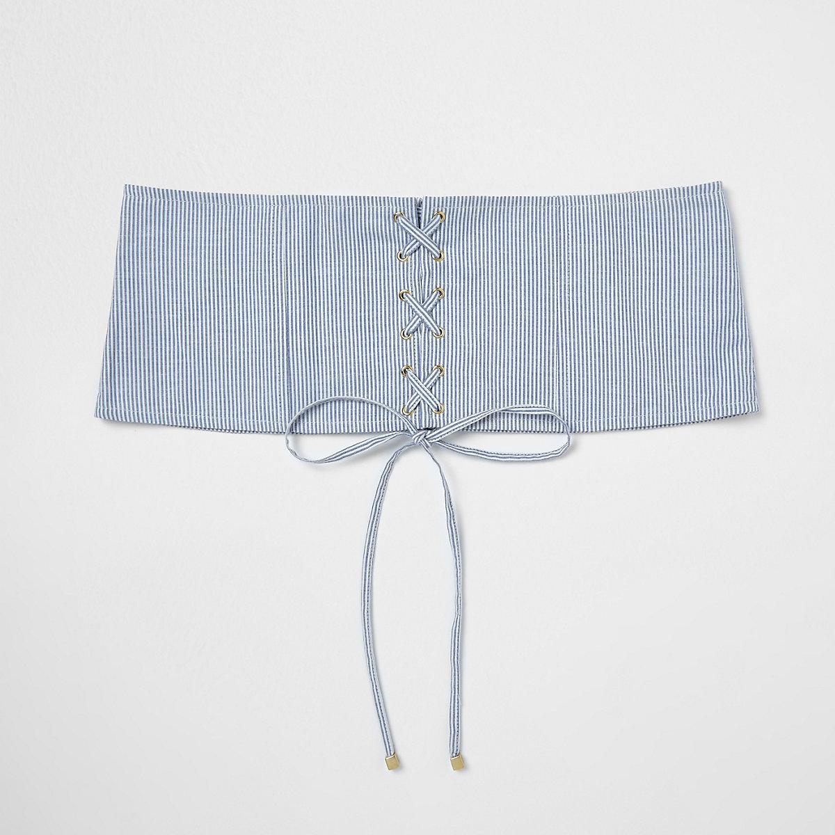 Blauwe gestreepte tailleriem met corsetdetail