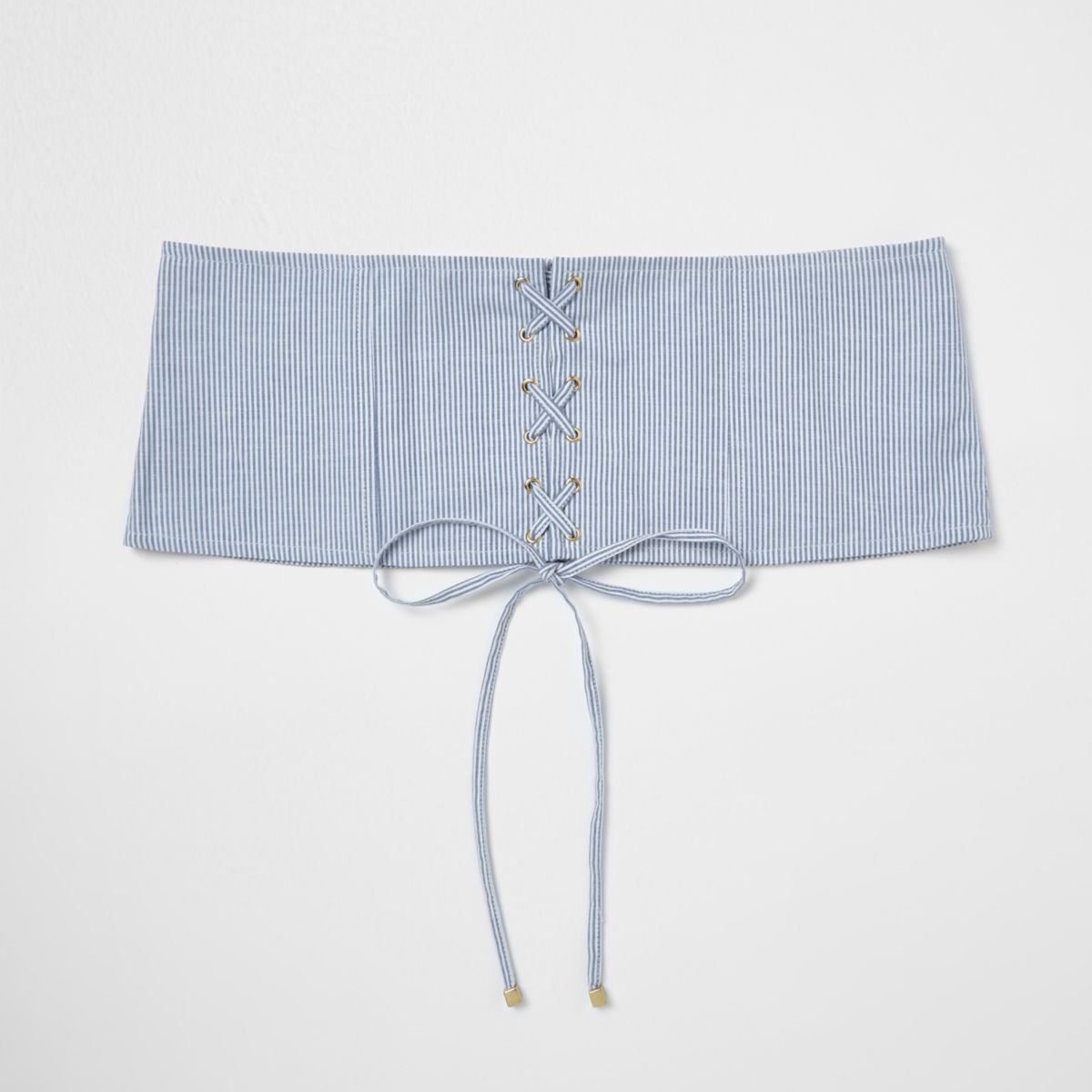 Blue stripe lace-up corset waist belt
