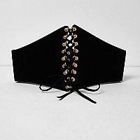 Plus black wide lace up corset belt
