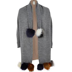Cardigan gris avec ourlet à pompons