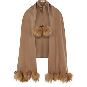 Light brown pom pom trim cape