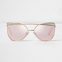 Gold tone pink lens glam sunglasses