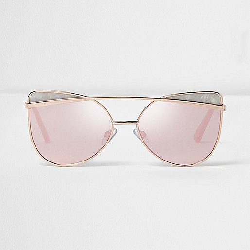 Gold tone pink lens glam sunglasses