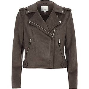 Charcoal grey faux suede biker jacket