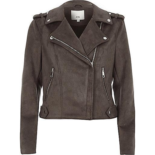 Charcoal grey faux suede biker jacket