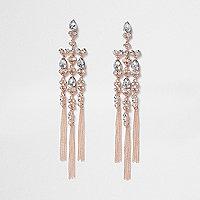 Rose gold tone rhinestone cross dangle earrings