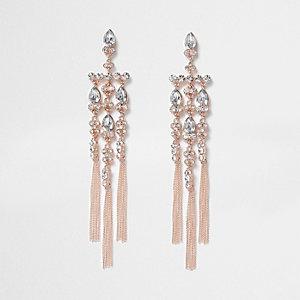Lange Ohrringe mit Kreuzanhänger in Roségold