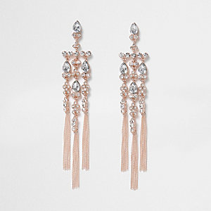 Rose gold tone rhinestone cross dangle earrings