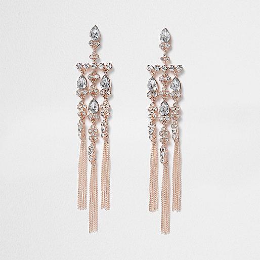 Rose gold tone diamante cross dangle earrings