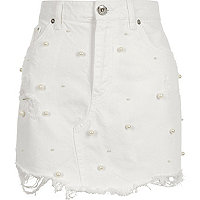 White faux pearl embellished denim mini skirt