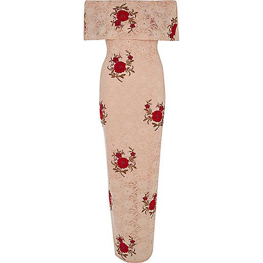 Pink Lace Bandeau Maxi Dress