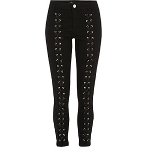 Black lace-up front skinny Molly jeans